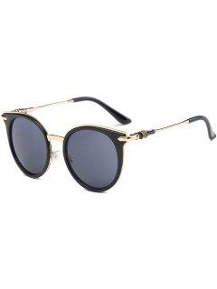 Cat Eye Metal Splicing Leg Round Sunglasses - Black Grey