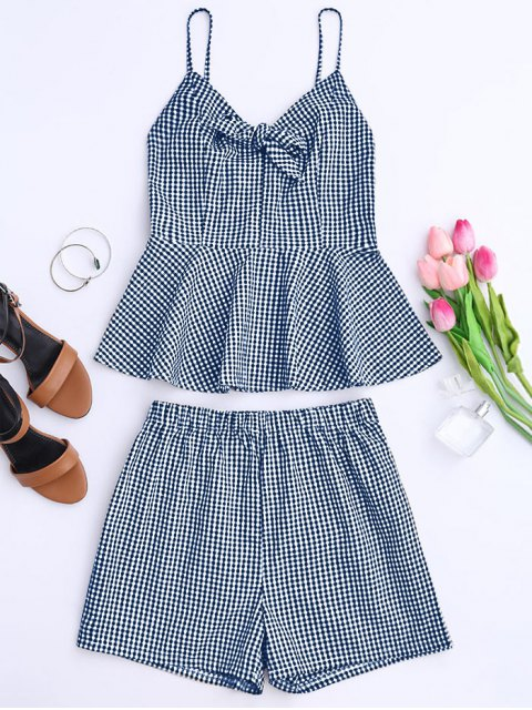 outfits Plaid Peplum Knot Top and Shorts - BLUE L Mobile