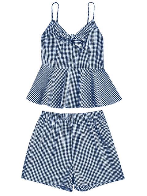 shop Plaid Peplum Knot Top and Shorts - BLUE XL Mobile