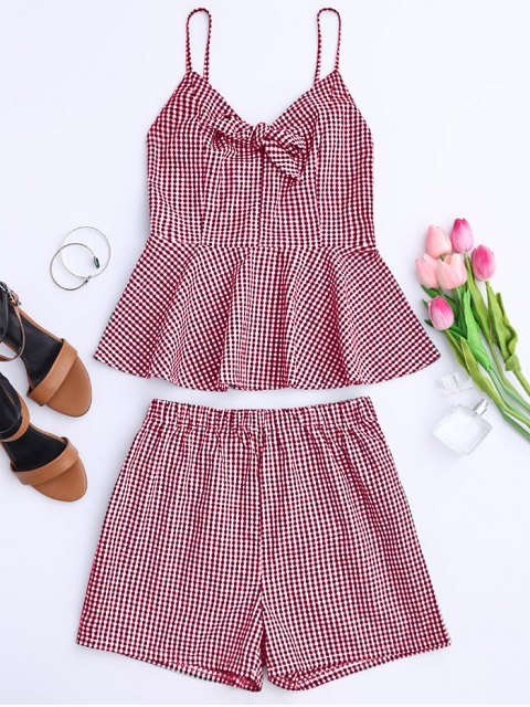 trendy Plaid Peplum Knot Top and Shorts - RED M Mobile