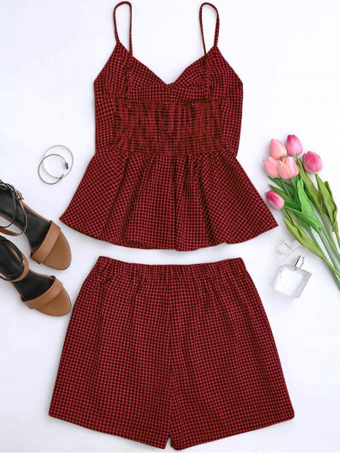 fancy Plaid Peplum Knot Top and Shorts - DEEP RED L Mobile