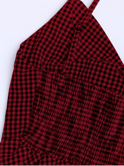 unique Plaid Peplum Knot Top and Shorts - DEEP RED M Mobile