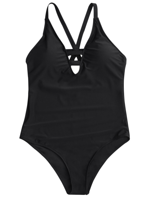 shop Shaping Strappy One Piece Swimsuit - BLACK S Mobile