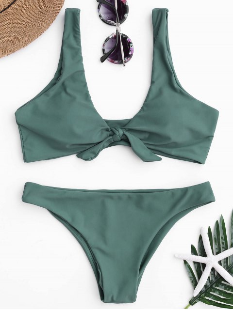 trendy Knotted Scoop Bikini Top and Bottoms - LAKE GREEN S Mobile