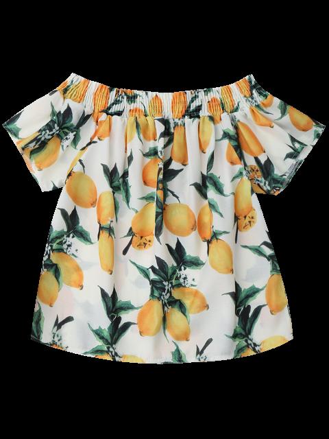 women's Lemon Off The Shoulder Top - WHITE XL Mobile
