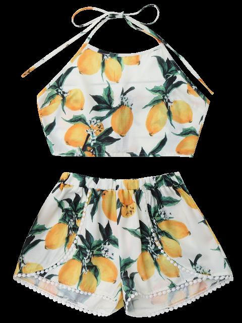 online Lemon Halter Crop Top Shorts Set - WHITE XL Mobile