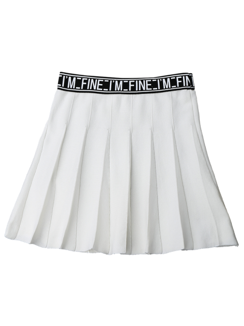 chic Knitting Letter A-Line Mini Skirt - WHITE ONE SIZE Mobile
