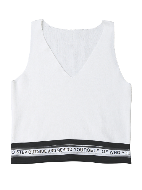 unique Mesh Panel Knitting Letter Tank Top - WHITE ONE SIZE Mobile