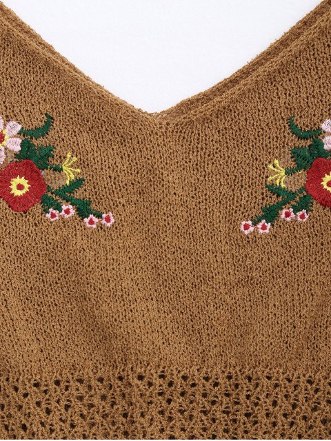 women Floral Embroidered Knitted Sheer Tank Top - COFFEE ONE SIZE Mobile