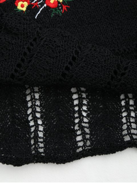 women's Knitted Sheer Hemming Embroidered Tank Top - BLACK ONE SIZE Mobile