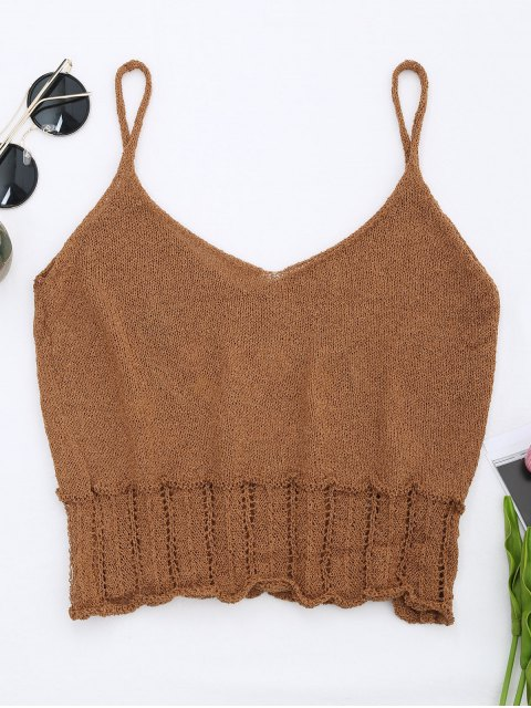 best Knitted Sheer Hemming Embroidered Tank Top - COFFEE ONE SIZE Mobile