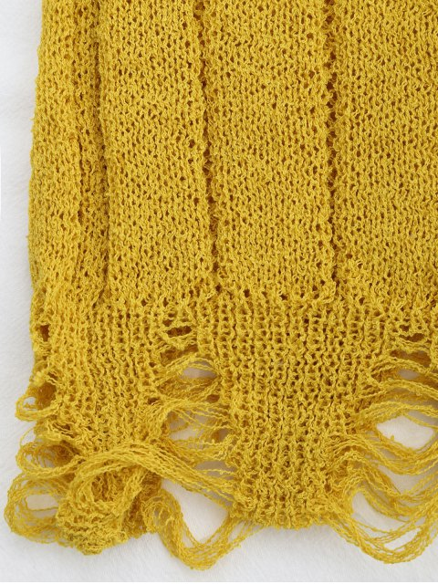 online Embroidered Knitting Sheer Ripped Tank Top - YELLOW ONE SIZE Mobile