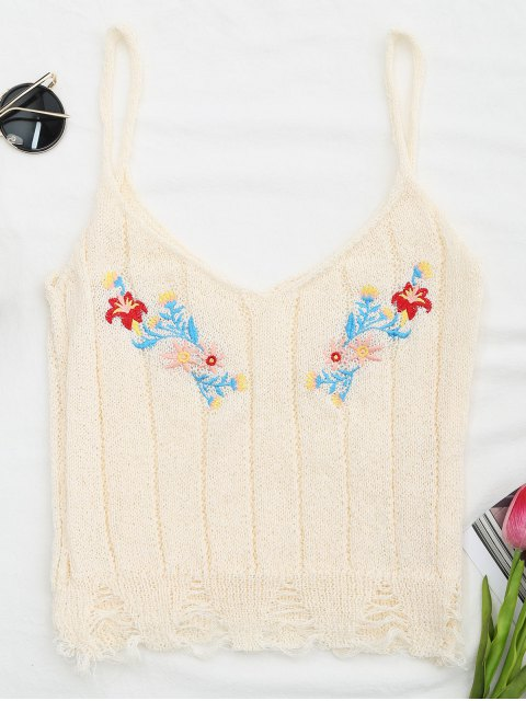 new Embroidered Knitting Sheer Ripped Tank Top - OFF-WHITE ONE SIZE Mobile