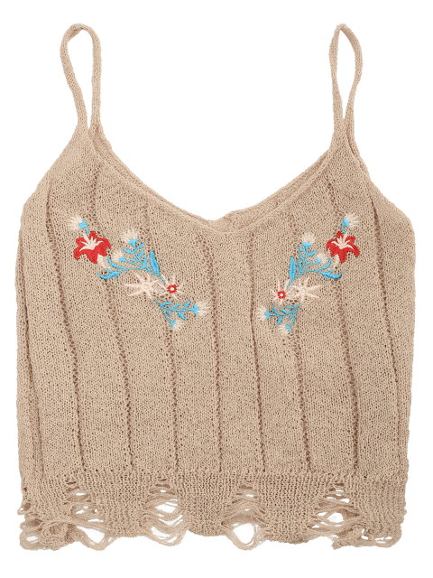 hot Embroidered Knitting Sheer Ripped Tank Top - APRICOT ONE SIZE Mobile