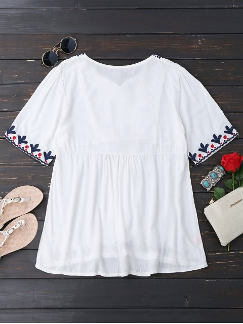 shops Tassels Oversized Embroidered Top - WHITE ONE SIZE Mobile