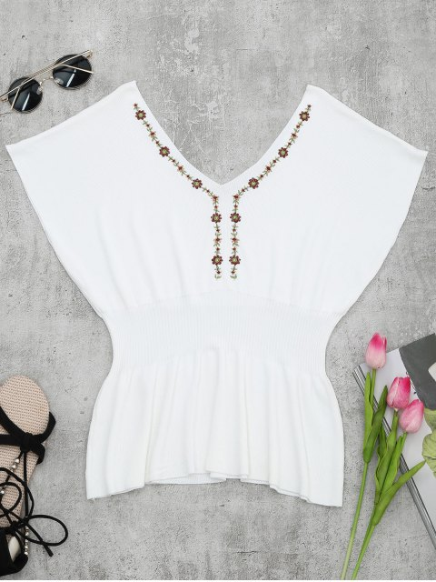 trendy Ribbed Panel Knitting Embroidered Top - WHITE ONE SIZE Mobile