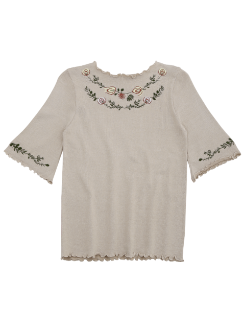 unique Knitting Embroidered Ruffles Top - GRAY ONE SIZE Mobile