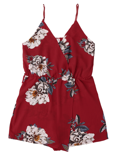 women's Cami Layered Floral Romper - FLORAL S Mobile