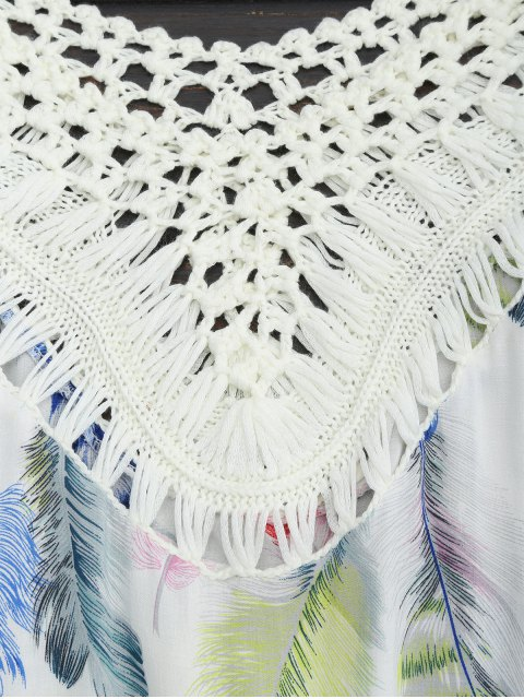 new Feather Print Crochet Fringed Blouse - MULTI ONE SIZE Mobile
