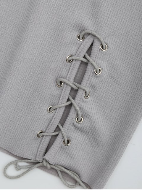 women Round Collar Ribbed Lace Up Dress - GRAY XL Mobile