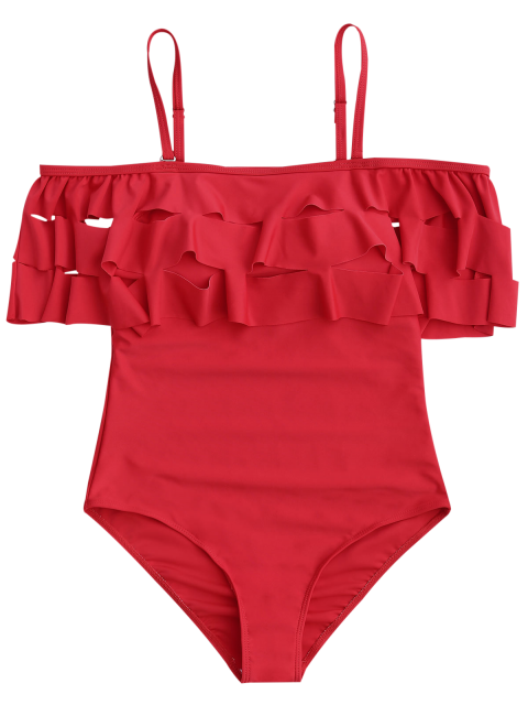 hot Ruffle Off The Shoulder One Piece Swimsuit - RED S Mobile