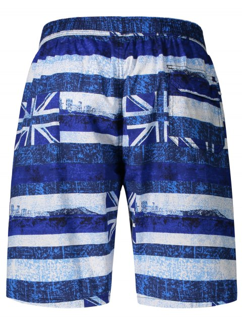 trendy Union Jack Printed Striped Board Shorts - BLUE XL Mobile