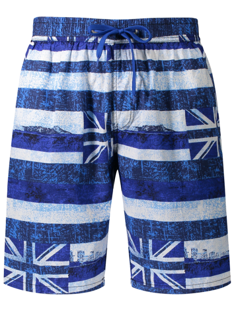 chic Union Jack Printed Striped Board Shorts - BLUE 3XL Mobile