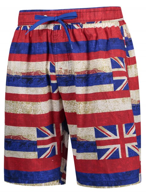 unique Union Jack Printed Striped Board Shorts - RED 2XL Mobile