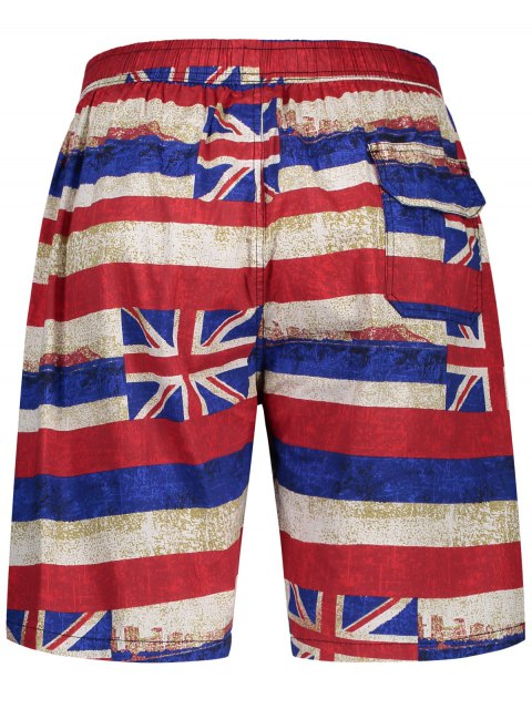 affordable Union Jack Printed Striped Board Shorts - RED L Mobile