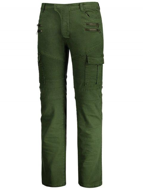 hot Zips Biker Pants with Multi Pockets - GREEN 2XL Mobile