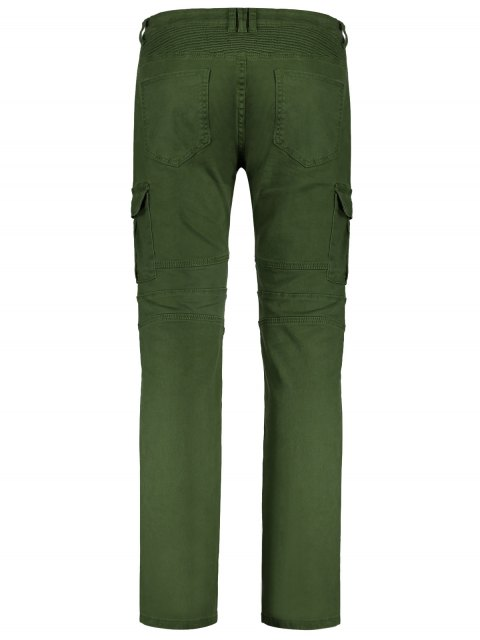 outfit Zips Biker Pants with Multi Pockets - GREEN XL Mobile