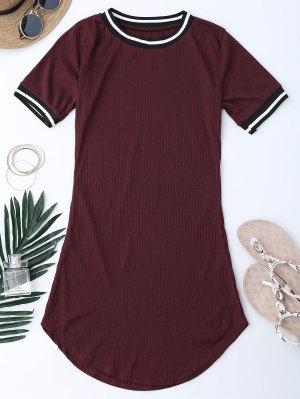 Ribbed Striped Panel Mini Dress - Wine Red S