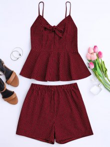 Plaid Peplum Knot Top and Shorts