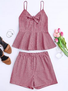 Plaid Peplum Knot Top And Shorts - Red Xl