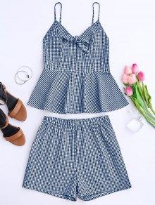 Plaid Peplum Knot Top And Shorts - Blue L