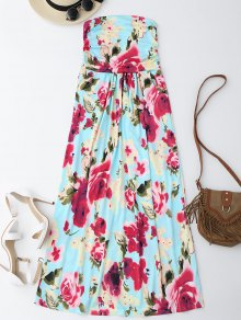 Floral Print Maxi Bandeau Holiday Dress