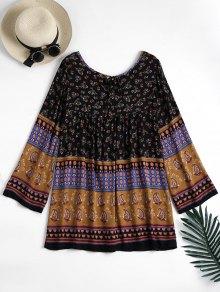 Long Sleeve Tribal Print Tunic Dress