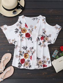 V Neck Floral Cold Shoulder Top