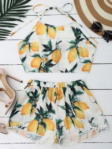 Lemon Halter Crop Top Shorts Set - White S