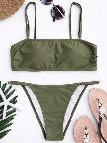 Bandeau Bikini Top And Tanga Bottoms - Army Green M