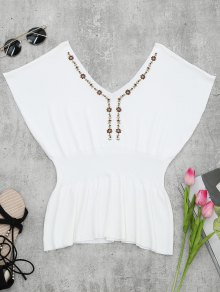 Ribbed Panel Knitting Embroidered Top