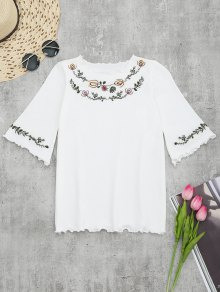 Knitting Embroidered Ruffles Top