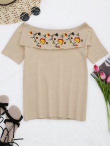 Flounces KnittingFloral Embroidered  Top