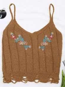 Embroidered Knitting Sheer Ripped Tank Top