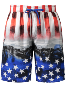 Star And Stripe Printed Board Shorts - Red L