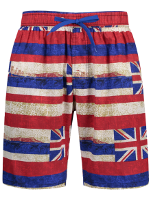 Union Jack Printed Striped Board Shorts