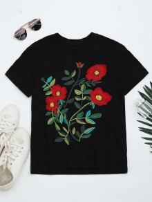 Round Neck Floral Embroidered T-shirt - Black M