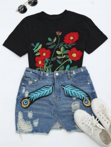 Feather Ripped Denim Skirt
