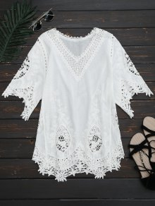 V Neck Hollow Out Blouse - White