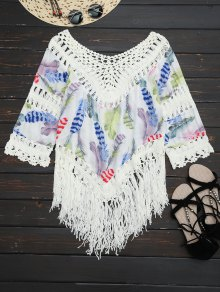 Feather Print Crochet Fringed Blouse